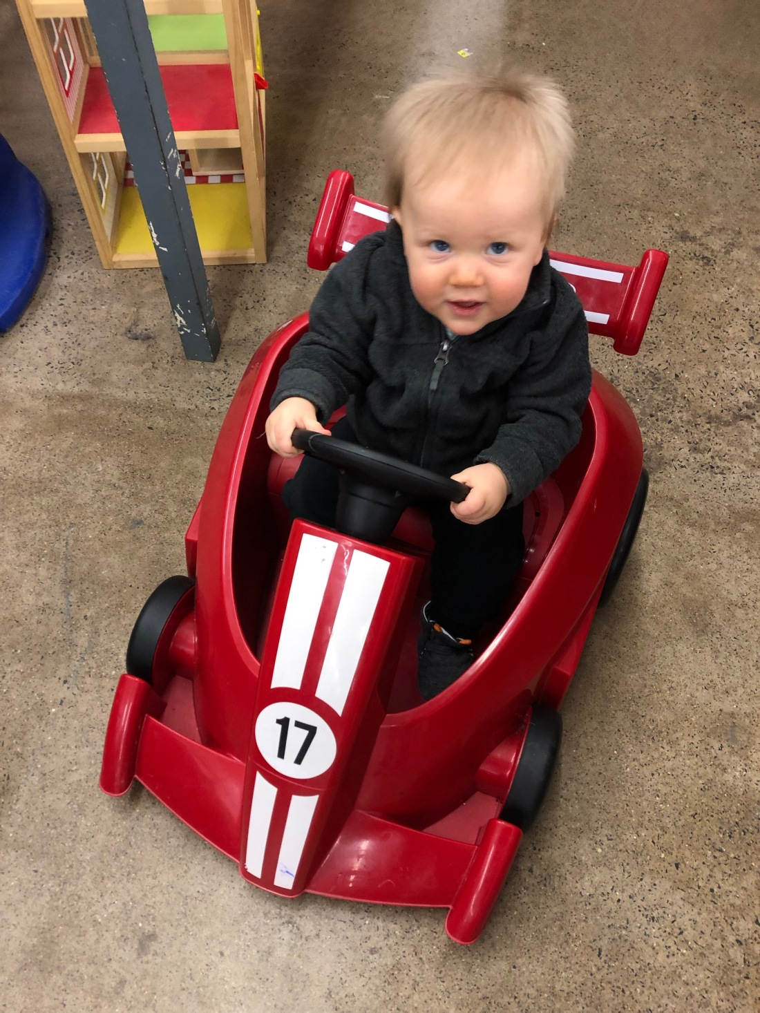 baby in a racecar
