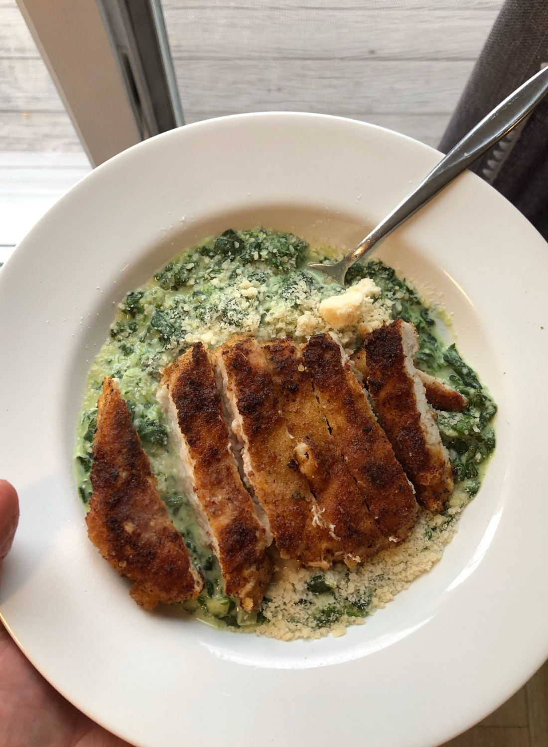 chicken and creamed spinach