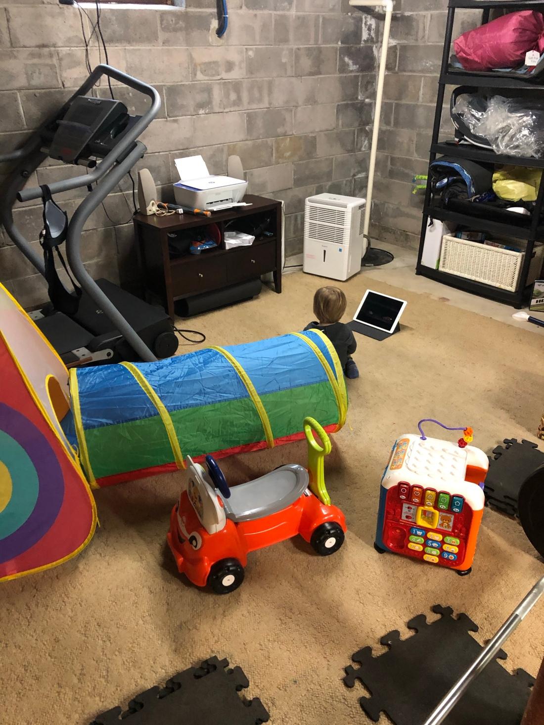 basement workout spin bike treadmill